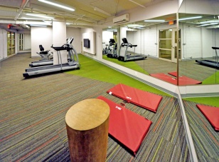 Yoga, running and spinning are features of the main gym area.