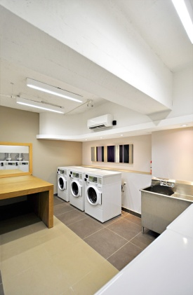 Bright and functional laundry room.