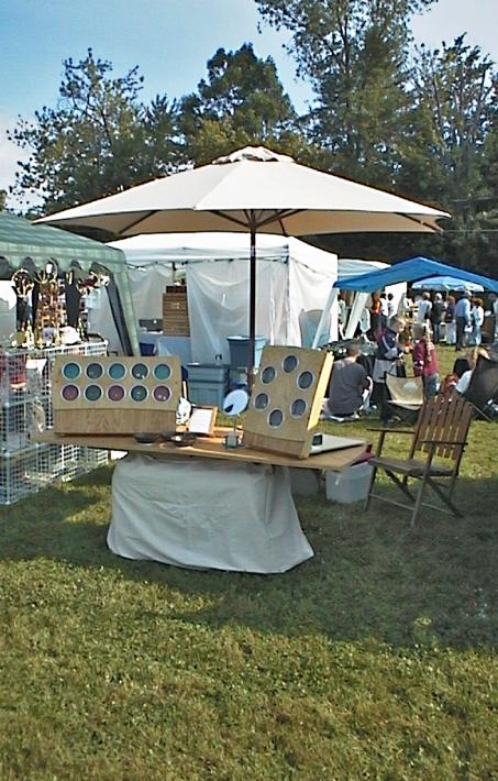 Pop-up display with sunshade.